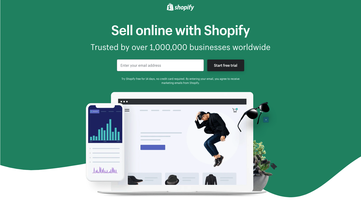 En grønn forside hos Shopify